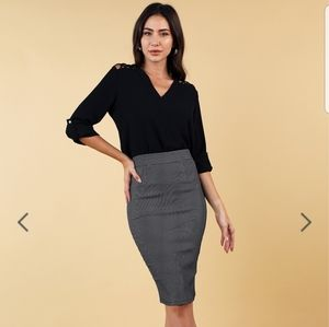NWT Pin Dot Midi Pencil Skirt